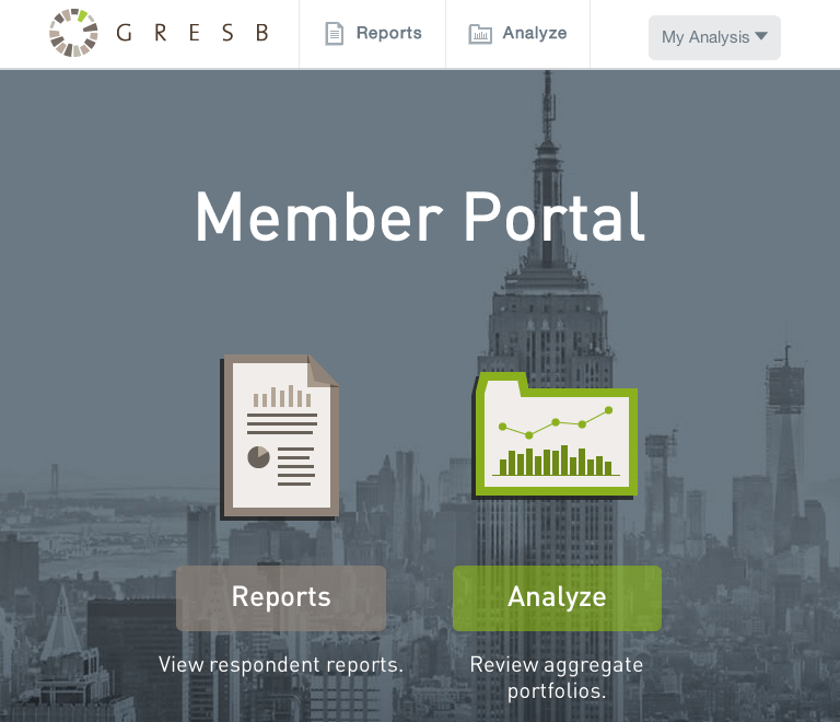 screenshot of GRESB portal