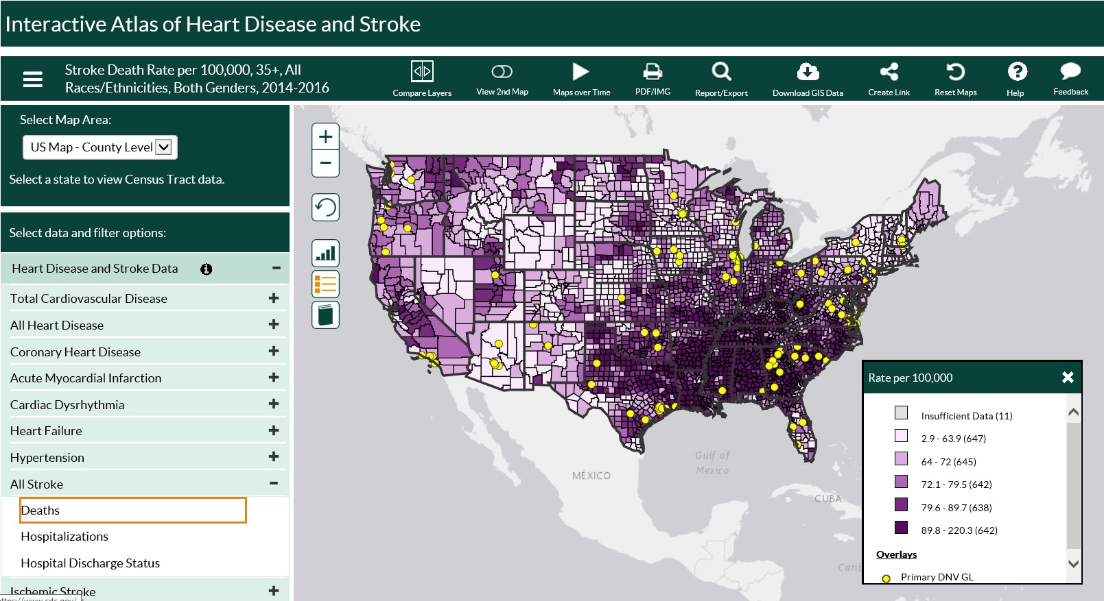 screenshot of CDC heart disease and stroke map