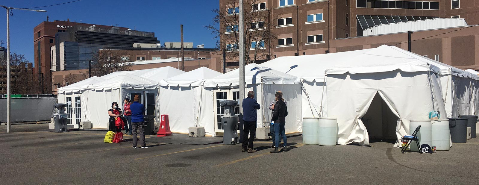 Testing tents for people experience homelessness in Boston, MA.